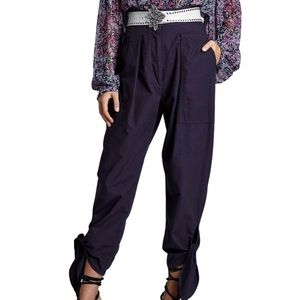 Isabel Marant High-Rise tie cuff navy pant NWT 4